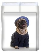 Pug In Sweater And Hat Duvet Cover by Edward Fielding