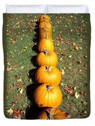 Pumpkins In A Row Duvet Cover by Anonymous