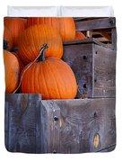 Pumpkins On The Wagon Duvet Cover by Kerri Mortenson