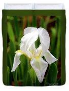 Purely White Iris Duvet Cover by Kathy  White