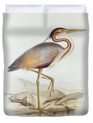 Purple Heron Duvet Cover by Edward Lear