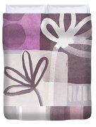 Purple Patchwork- Contemporary Art Duvet Cover by Linda Woods