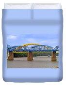 Purple People Bridge And Big Mac Bridge - Ohio River Cincinnati Duvet Cover by Christine Till