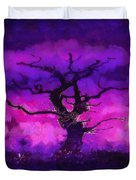 Purple tree of life Duvet Cover by Pixel Chimp