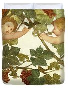 Putti Frolicking in a Vineyard Duvet Cover by Phoebe Anna Traquair