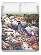 Quail Family Duvet Cover by Nadi Spencer