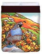 Quail Poppies Duvet Cover by Nadi Spencer