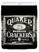 Quaker Crackers Rustic Sign For Kitchen In Black And White Duvet Cover by Lisa Russo