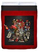 Quetzalcoatl In Human Warrior Form - Codex Borgia Duvet Cover by Serge Averbukh