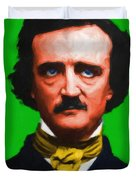 Quoth The Raven Nevermore - Edgar Allan Poe - Painterly - Green - With Text Duvet Cover by Wingsdomain Art and Photography