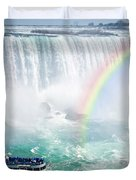 Rainbow And Tourist Boat At Niagara Falls Duvet Cover by Elena Elisseeva