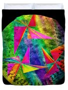 Rainbow Bliss Pinwheels Baseball Square Duvet Cover by Andee Design