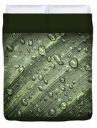 Raindrops On Green Leaf Duvet Cover by Elena Elisseeva