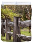Raindrops On Rustic Wood Fence Duvet Cover by Michelle Wrighton