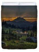 Rainier Sunset Basin Duvet Cover by Mike Reid