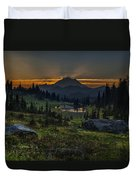 Rainier Sunset Basin Duvet Cover by Mike Reid