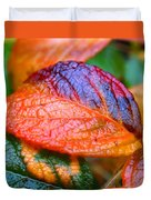 Rainy Day Leaves Duvet Cover by Rona Black