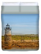 Ram Island Lighthouse Duvet Cover by Karol Livote