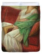 Reclining With Book Duvet Cover by Sarah Parks