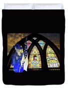 Recollection Union Soldier Stained Glass Window Digital Art Duvet Cover by Thomas Woolworth