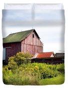 Red barn in Groton Duvet Cover by Gary Heller