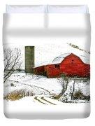 Red Barn In Snow Duvet Cover by John Haldane
