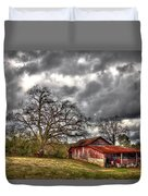Red Barn On The Boswell Farm Duvet Cover by Reid Callaway