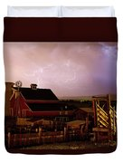 Red Barn On The Farm And Lightning Thunderstorm Duvet Cover by James BO  Insogna