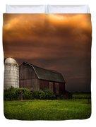 Red Barn Stormy Sky - Rustic Dreams Duvet Cover by Gary Heller