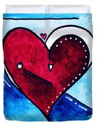 Red Blue Heart Love Painting Pop Art Joy by Megan Duncanson Duvet Cover by Megan Duncanson