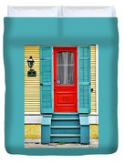 Red Door In New Orleans Duvet Cover by Christine Till