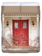 Red Doors - Charming Old Doors On The Abandoned House Duvet Cover by Gary Heller