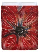 Red Flower 2 - Vibrant Red Floral Art Duvet Cover by Sharon Cummings