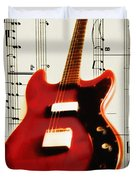 Red Guitar Duvet Cover by Bill Cannon