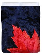 Red Maple Leaf And Black Stone - Fs000222 Duvet Cover by Daniel Dempster