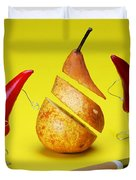 Red Peppers Sliced A Pear Duvet Cover by Paul Ge