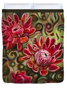 Red Proteas Duvet Cover by Jen Norton