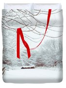 Red Ribbon In Tree Duvet Cover by Amanda And Christopher Elwell