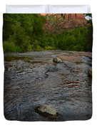 Red River Crossing under Cathedral Rock Duvet Cover by Dave Dilli