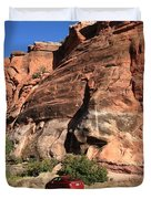 Red Rock And Red Car Duvet Cover by Frank Romeo