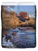Red Rock Crossing Winter Duvet Cover by Mary Jo Allen