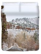 Red Rock Winter Drive Duvet Cover by James BO  Insogna