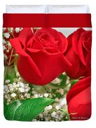 Red Roses With Baby's Breath Duvet Cover by Ann Murphy