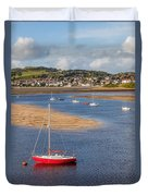 Red Sail Boat Duvet Cover by Adrian Evans