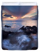 Red Sky Over Lanai Duvet Cover by Mike  Dawson