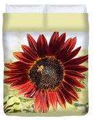 Red Sunflower And Bee Duvet Cover by Kerri Mortenson
