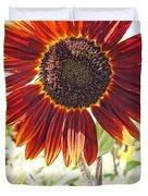 Red Sunflower Glow Duvet Cover by Kerri Mortenson