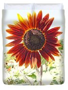 Red Sunflower Glow Duvet Cover by Kerri Mortenson