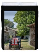 Red Tractor On A French Farm Duvet Cover by Georgia Fowler