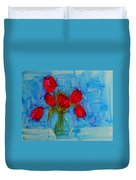 Red Tulips With Blue Background Duvet Cover by Patricia Awapara